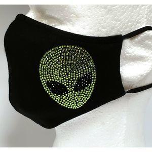 Rhinestone Mask, Fashion Mask, Cotton Mask (Alien)